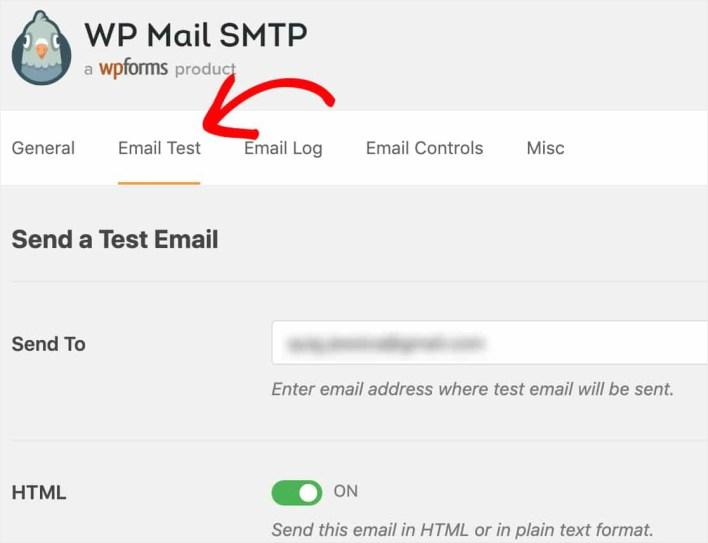 wp mail smtp send test