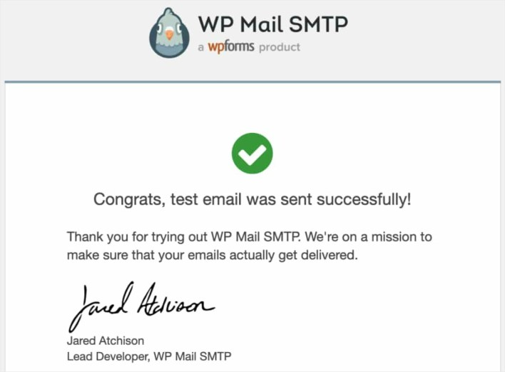 wp mail test success message email