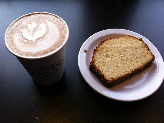 Tiger Mountain Mocha and a slice of lemon bread.