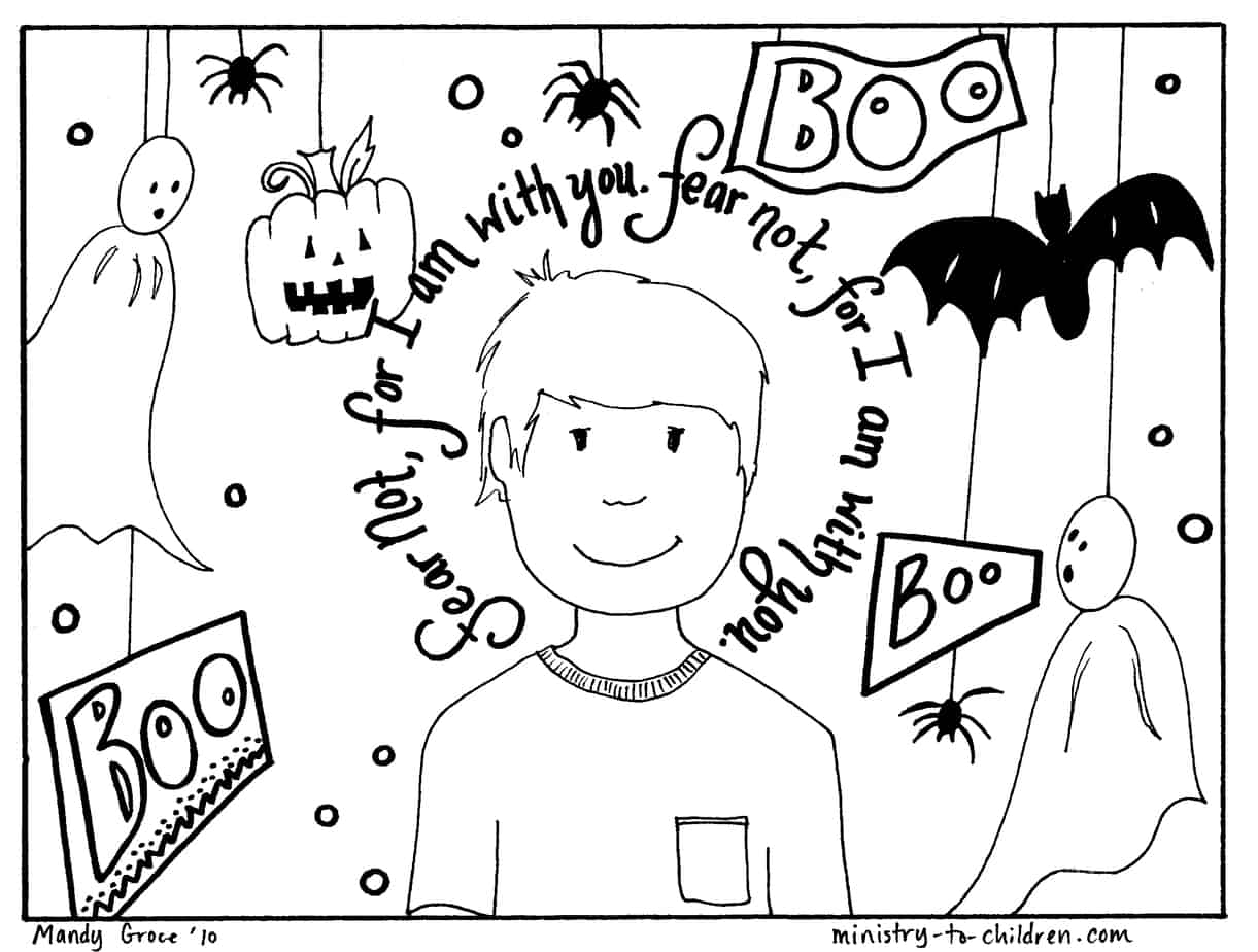 Halloween Coloring Pages: Do Not Fear Bible Verse