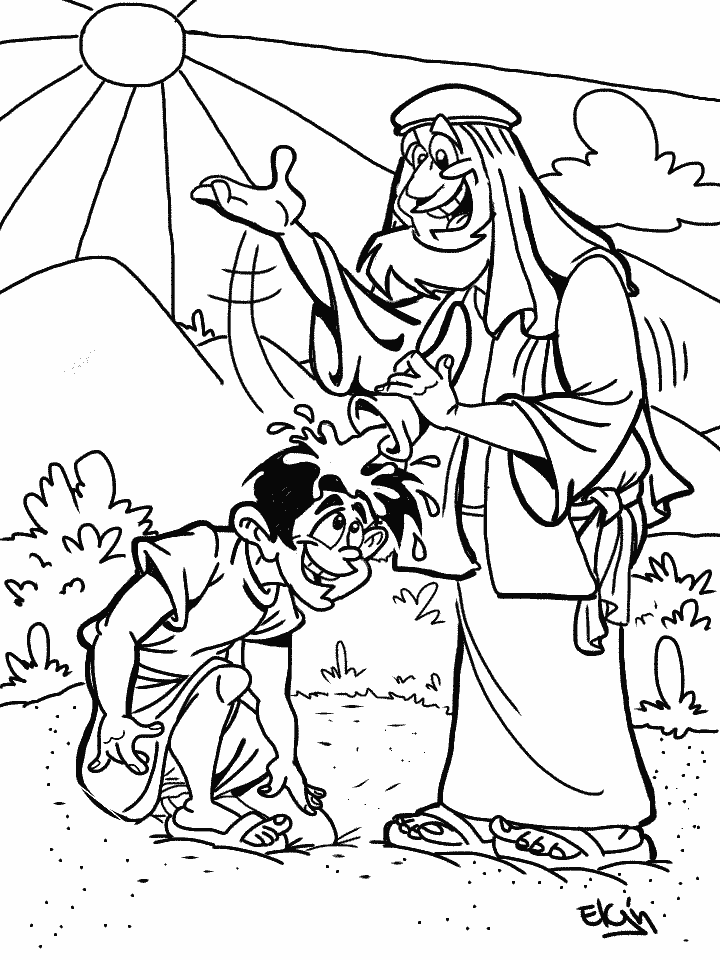 """""""Samuel Anoints David as King"""" Cartoon & Coloring Page"""