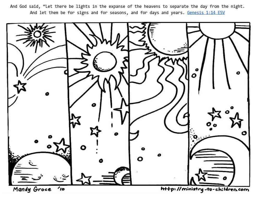 Genesis 1:14 Coloring Sheets