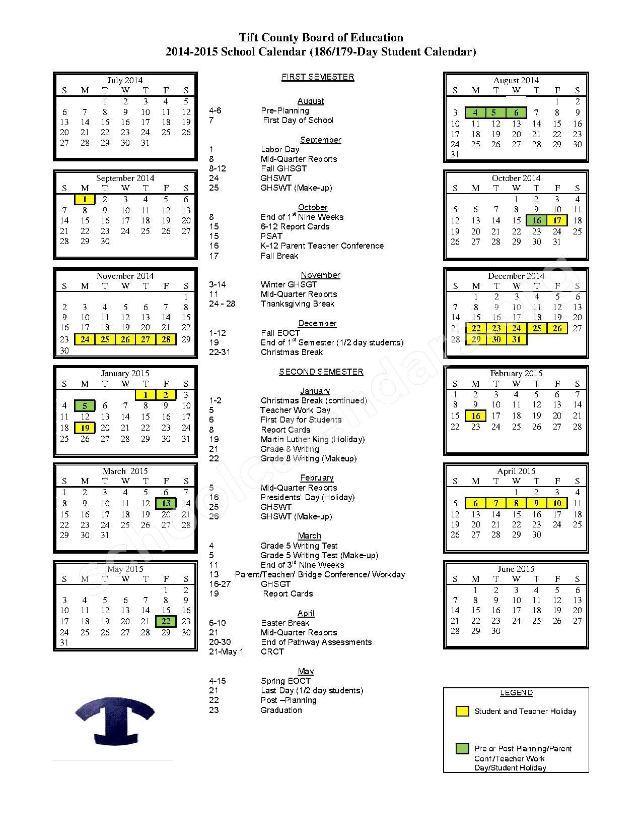 2014 - 2015 School Calendar