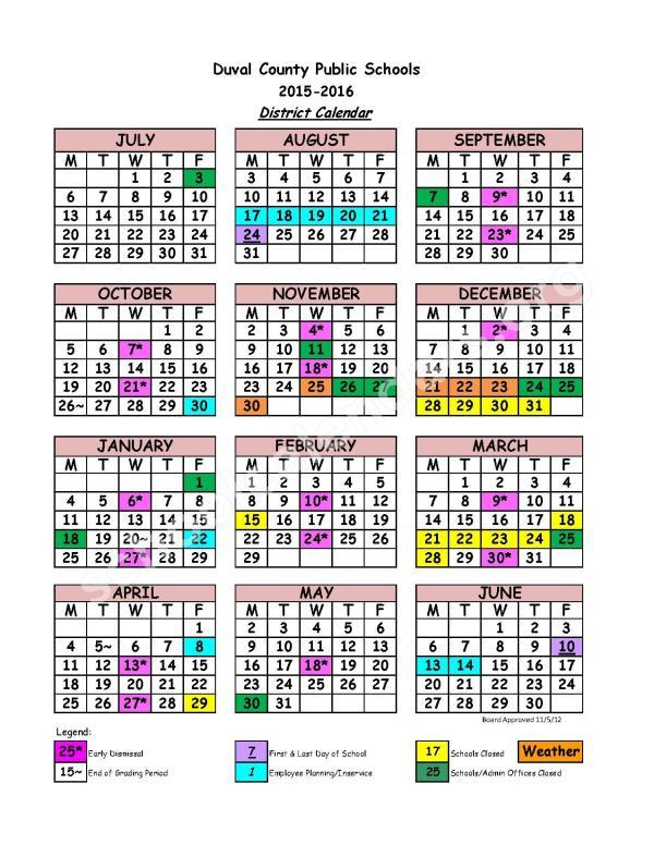 2015 2016 School Calendar Duval County Public Schools