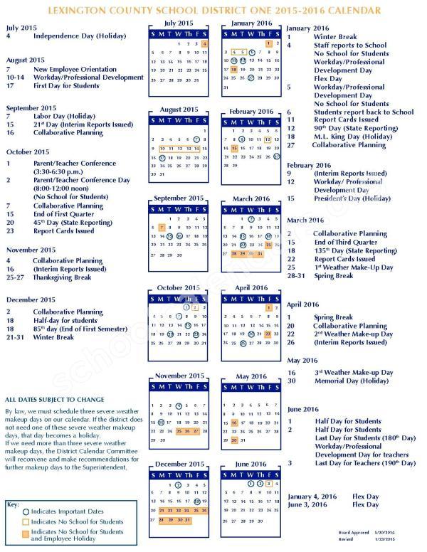 2015 2016 District Calendar Gilbert High School
