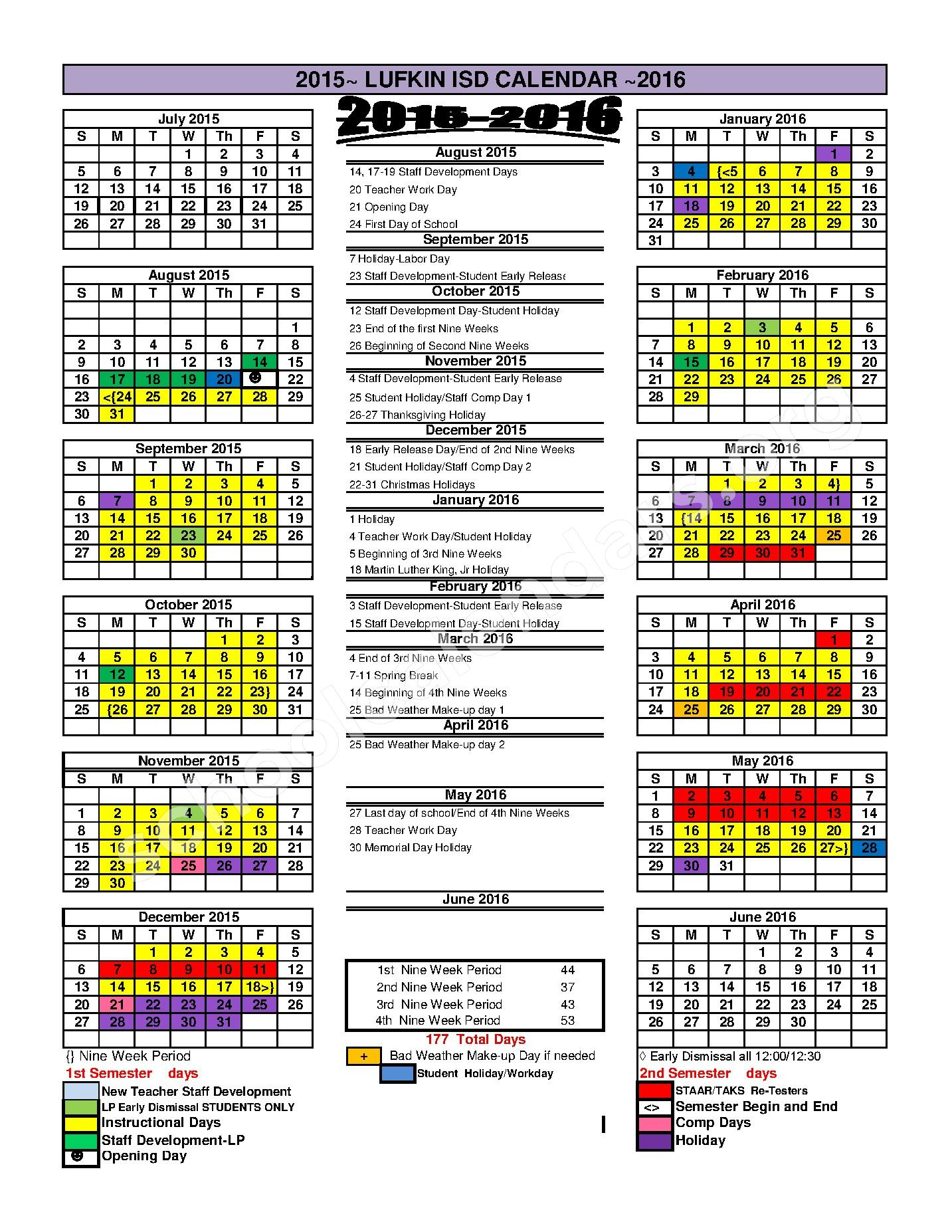 Anderson Elementary School Calendars Lufkin Tx