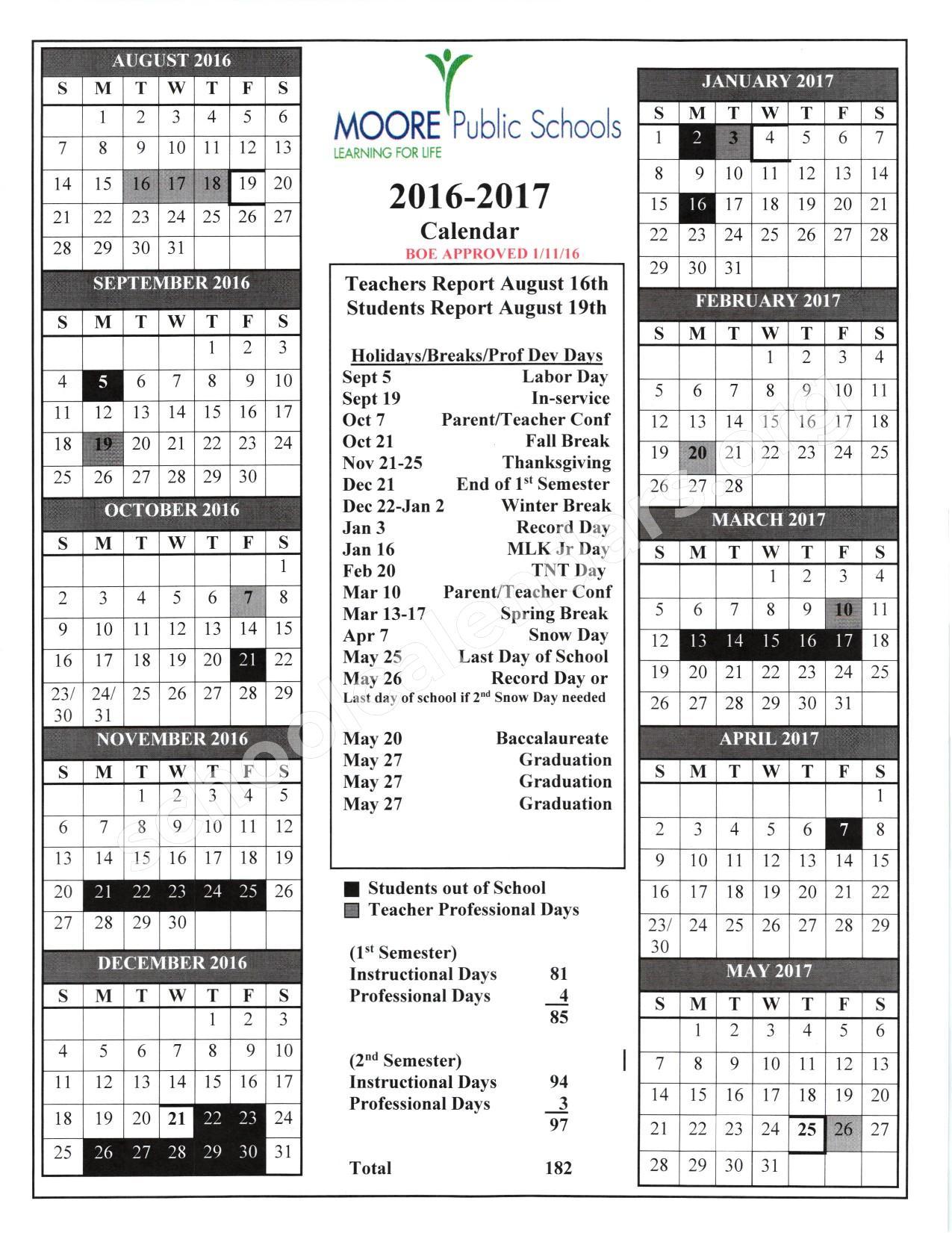 2016 - 2017 School Calendar | Moore Public Schools