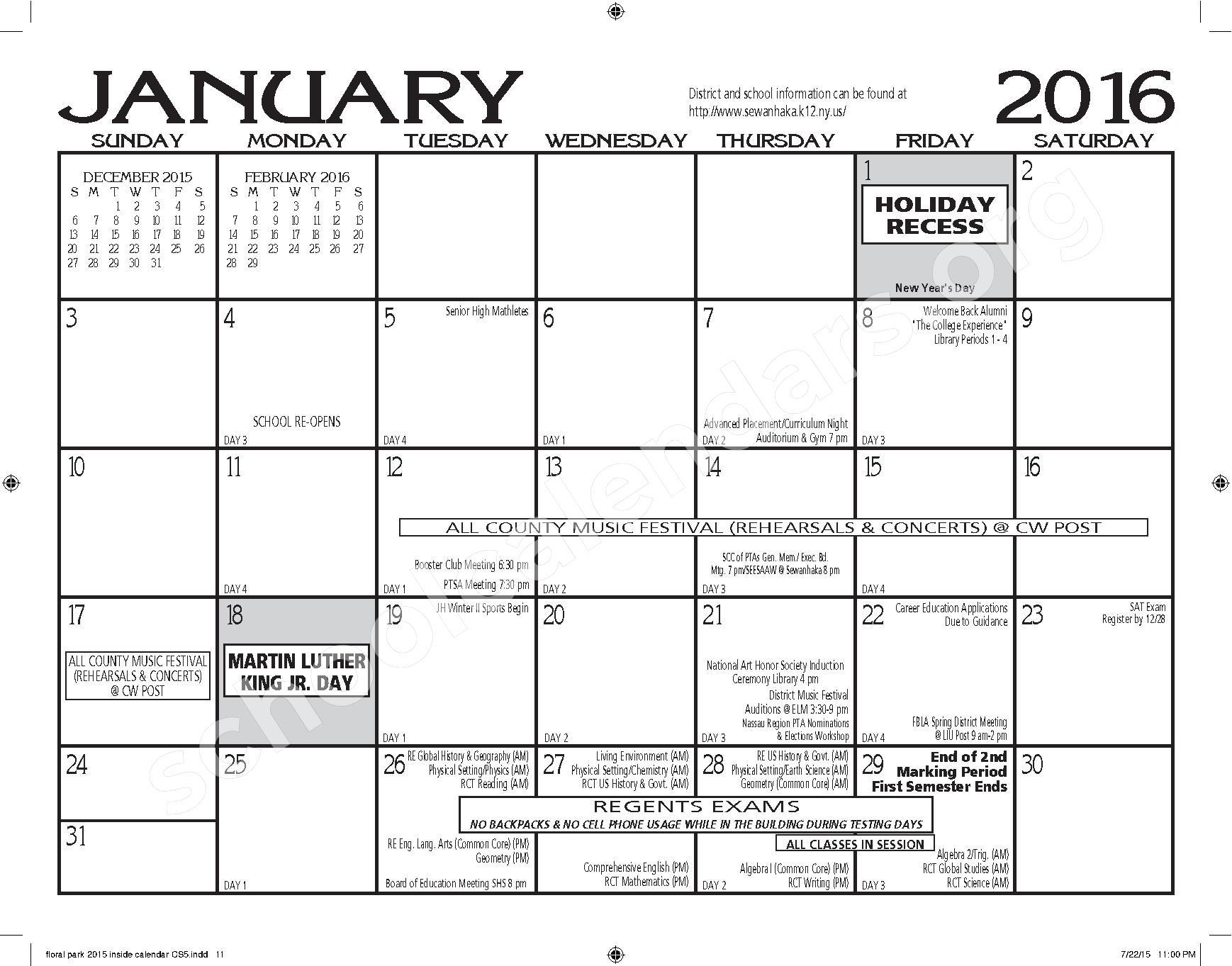 Floral Park Memorial High School Calendars