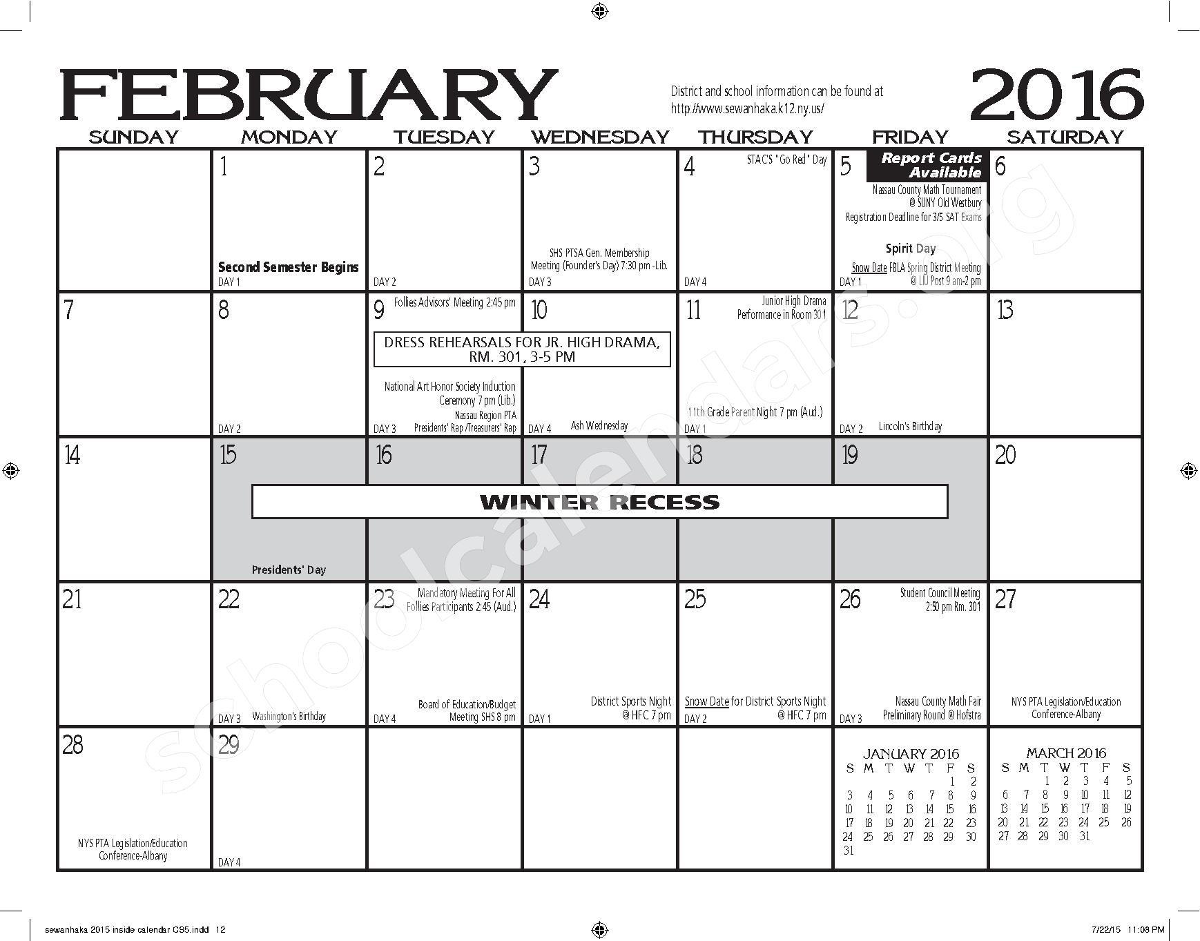 Sewanhaka High School Calendars