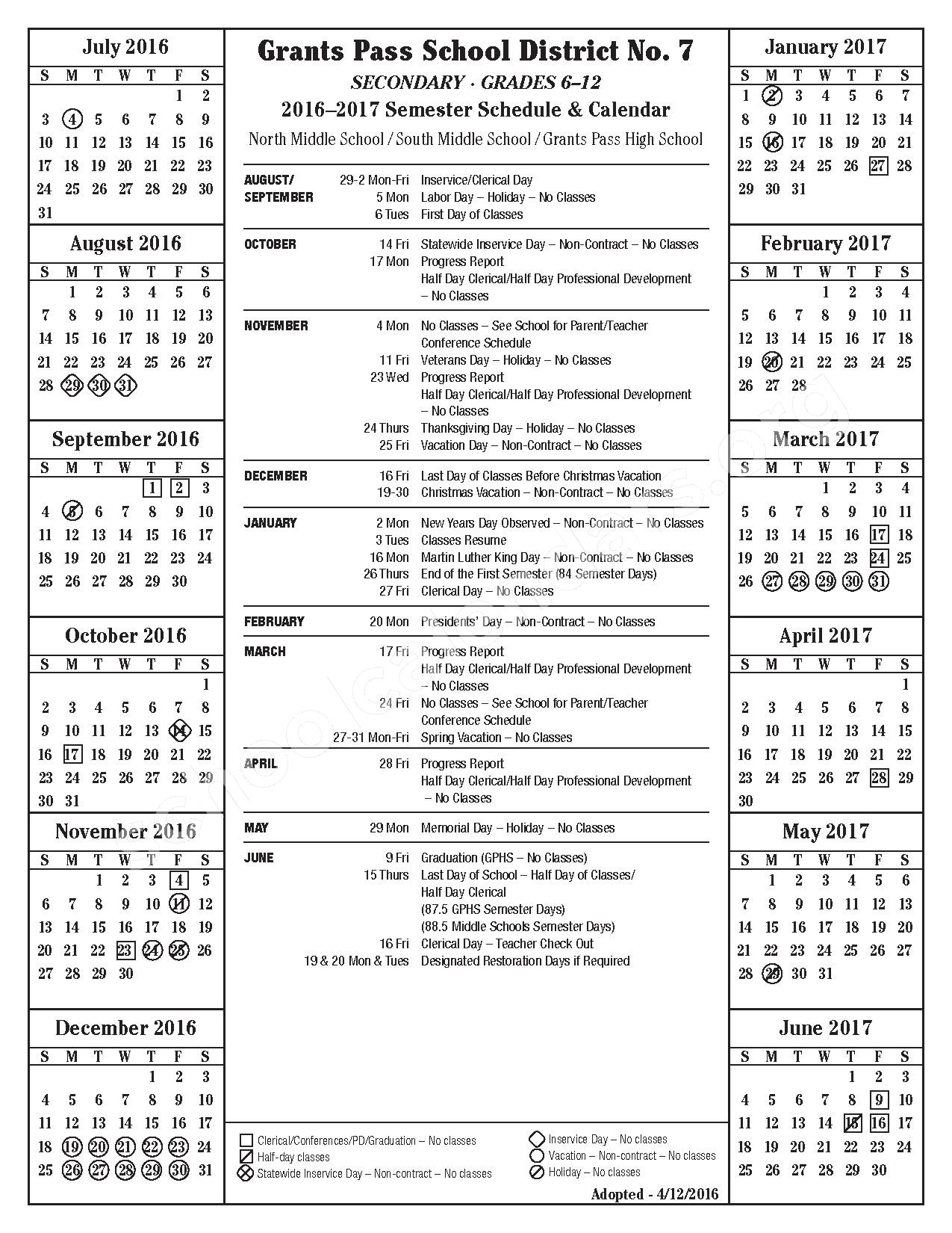 Grants Pass School District 7 Calendars