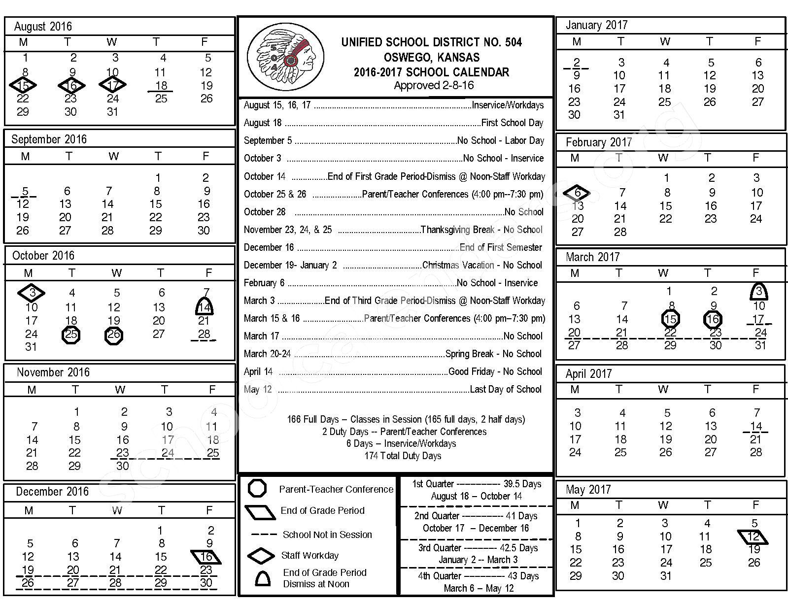 Oswego Unified School District 504 Calendars