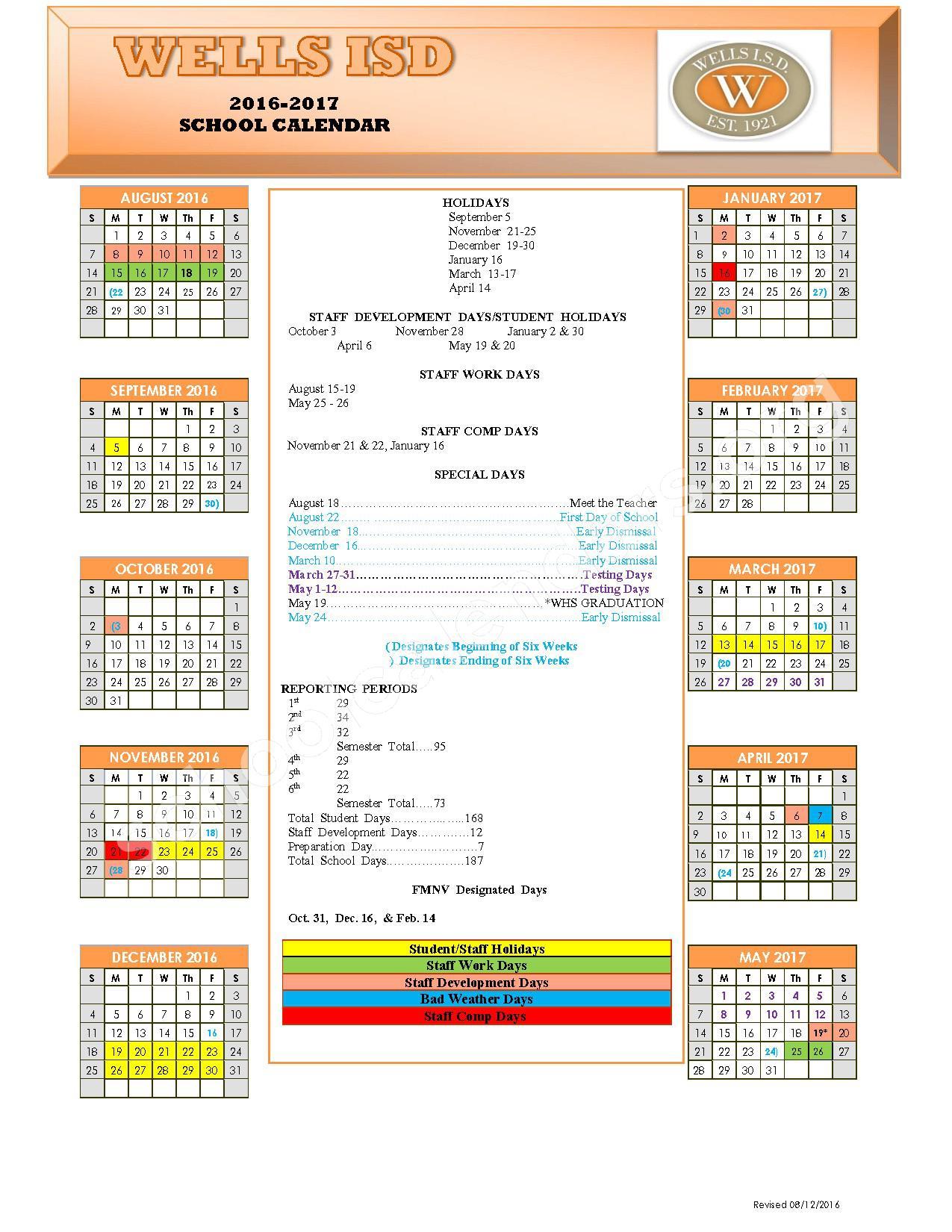 Wells Independent School District Calendars Texas