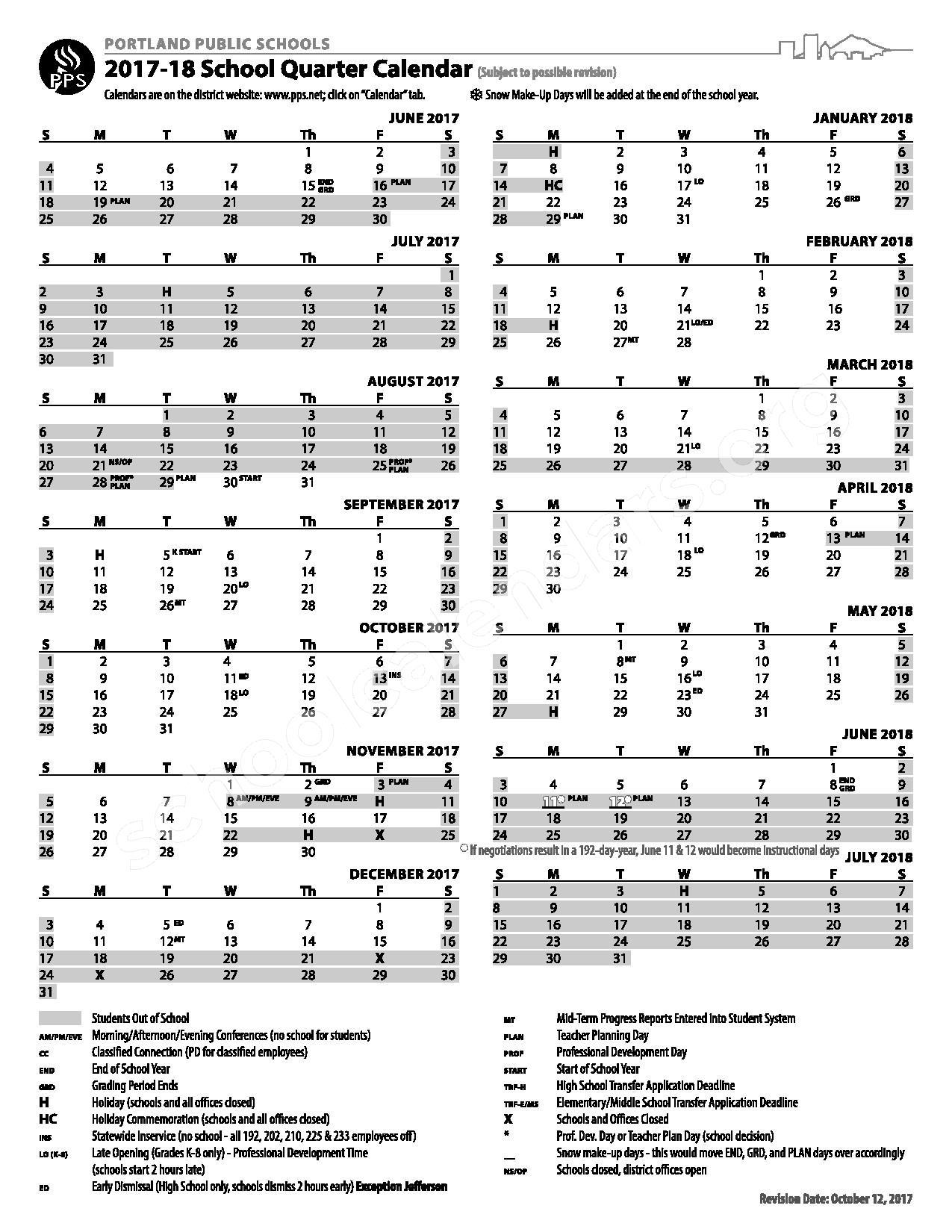Portland Public Schools Calendars