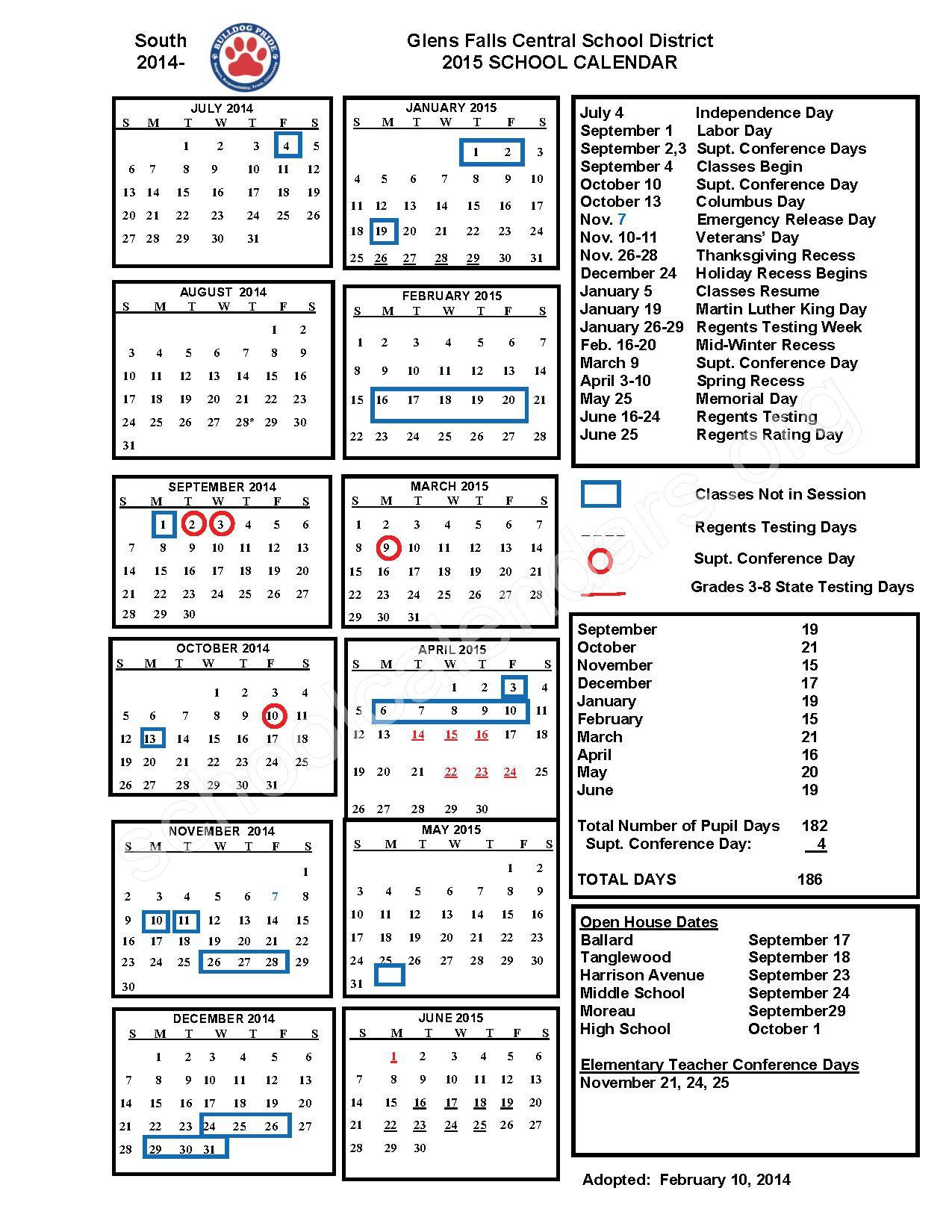 One-page 2014 - 2015 school calendar