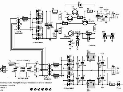 Microphone Preamplifier with Transformer and Phantom-Power