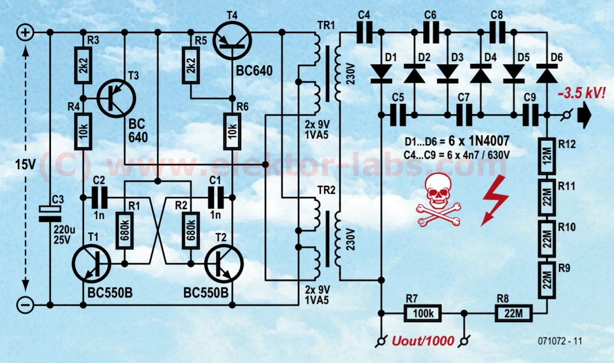hight resolution of air ioniser 071072 elektor labs elektor magazine schematic of the highvoltage supply of the air ionizer