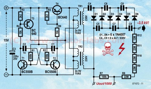 small resolution of air ioniser 071072 elektor labs elektor magazine schematic of the highvoltage supply of the air ionizer