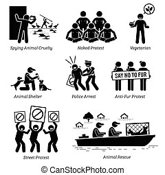 Social workers stick figure pictogram icons. Illustrations