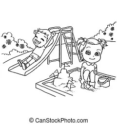 Kids playing seesaw at the park Clipart Vector Graphics