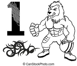 Lions football team design with paw print for school