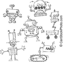 Cartoon robot coloring page. Black and white cartoon