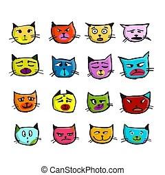 이모티콘. 고양이. 얼굴. 세트. 삽화. 고양이. 벡터. 얼굴. 이모티콘.