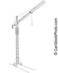 구조, 철사, 기중기, 탑. 철사 구조, 지방의 정제, crane., 배경, 탑, 백색, 3차원.