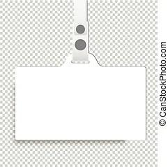 Blank badge with ribbon, lanyard vector. identification