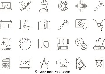 Engineering symbols. Vector icons of most frequently used