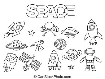 Black and white cartoon space station Clip Art Vector