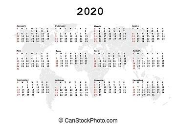 Calendário, 2020. Semana, simples, começa, branca
