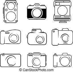 Estrutura, símbolo, câmera, foco.