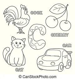C, esboçado, letra, gato. Carta c, esboçado, ilustração, gato.