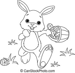 happy easter chick. coloring page. Newborn chick sitting