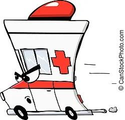 有趣, 救護車. 修理, 救護車, 急馳, 醫生.