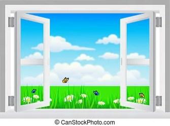 window open clip sill clipart vector fenster scenery door venster drawings met fensterbank illustraties szenerie weisses rgeoeffnete illustrations canstockphoto illustrationen
