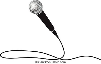 Black and white microphone. A black and white illustration
