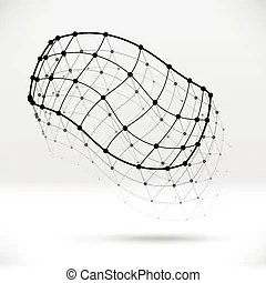 Abstract 3d wireframe shape with connected structure