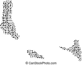 Comoro islands map outline on the white background. vector