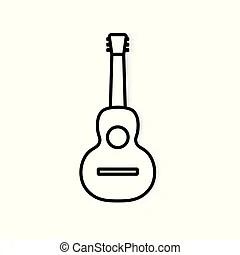 Acoustic vector guitar illustration. Acoustic guitar