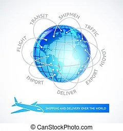 World airplane flight travel plans connections. World map of airline airplane flight path travel plans.