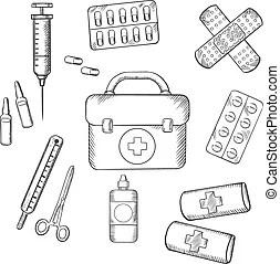 Black outline sketch icons of medicine and drugs. Medicine