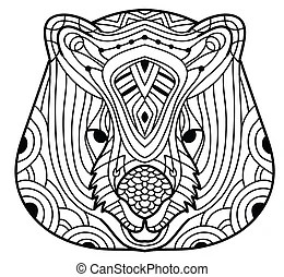 Wombat animal cartoon coloring book. Black and white