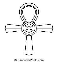Coptic cross ankh icon black color illustration flat style