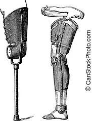 Artificial legs for below-knee amputation, vintage