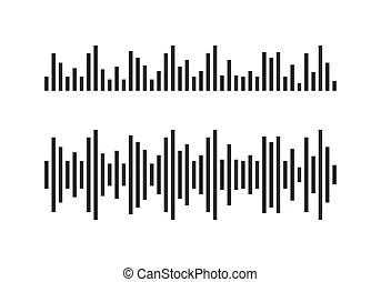 Vector music sound waves set. audio digital equalizer