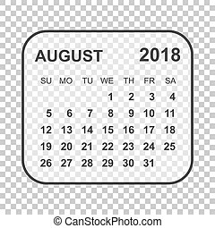 August 2018, illustration vector calendar or desk planner