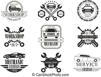 Repair workshop black and white label design template with