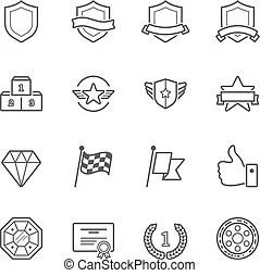Merit badges. Set of merit achievement badges for outdoor