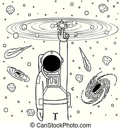 Solar system planets coloring page. Black and white